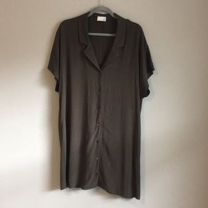 Aritzia Wilfred Free Olive Shirtdress Sz L